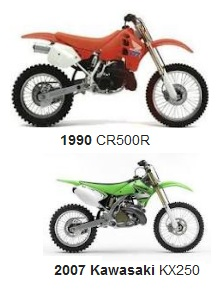 1990 Honda CR 500 and a 2007 Kawasaki KX250