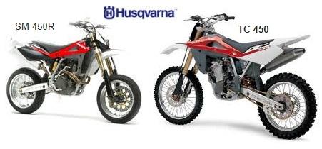 2005 HUSQVARNA TC450 and SM450R dirtbikes