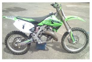 bike dirt racing on a 2005 Kx 125 motocross Kawasaki