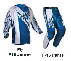 the Fly F-16 JERSEY and the F-16 PANTS for motocross