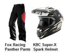 Fox Racing Panther Pants and a KBC Super X Spark Helmet