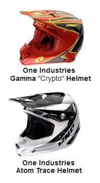 Gamma helmet Crypto Red and the Atom Trace helmet by One Industries