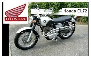 Honda CL72 Scrambler bike from the sixties