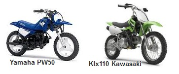 Kawasaki KLX 110 and the Yamaha PW50