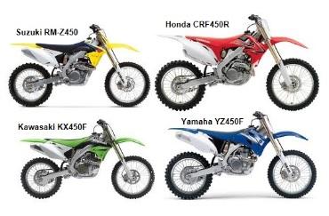Kawasaki KX450F Suzuki RM Z450 Honda CRF450R Yamaha YZ450F