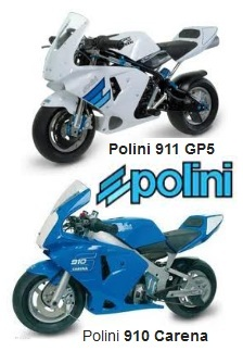 Polini 911 GP5 Reverse 50cc and the 910 Carena Off Road Pocket Bikes