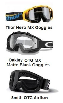 THOR Hero motocross goggles and Oakley OTG MX Matte Black and Smith Option OTG Airflow goggles