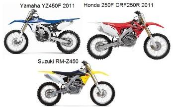 Yamaha YZ450F 2011 and Honda 250F CRF250R 2011 and Suzuki RM Z450