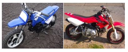 Yamaha pw50 and the Honda crf 50 pit dirt bikes