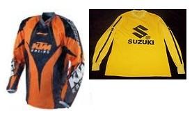 a ktm jersey and a suzuki motocross jersey