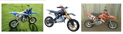 a range of kids 50cc dirtbikes and motocross rides