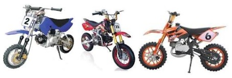 a selection of chinese pitbikes or motocross bikes from china