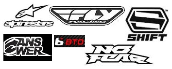 alpinestars fly shift answer bto no fear motocross dirtbike logos