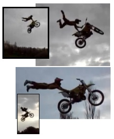 dirt bike jumping and stunting