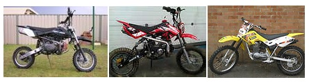 examples of small dirtbikes and pitbikes for sale