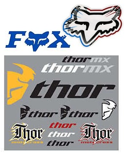 fox logo decals and thor sticker sheet