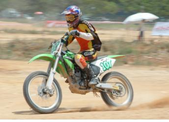 motocross biker with gloves