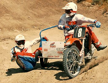 motocross riders on a MX sidecar