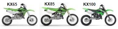 mx Kawasaki kx65 the kx85 kx100 dirtbikes