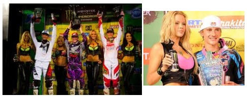 supercross motocross trophy girls podium