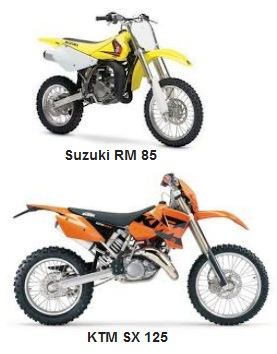 Suzuki RM 85 2005 dirt bike and a KTM SX125 125cc motocrosser