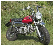the Honda 50 cc Mini Trail bike chopper