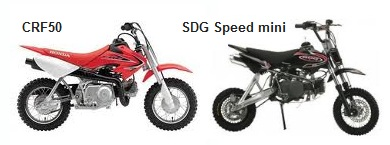 the Honda CRF50 and the sdg speed minis