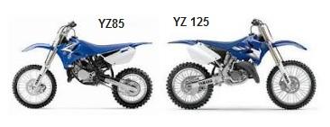 the MX yamaha YZ85 and the YZ125 dirt bikes