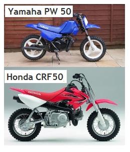 the Yamaha PW50 and honda CRF 50 pit dirt bikes