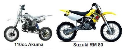 the akuma Assassin 110cc and Suzuki RM 80 dirtbikes