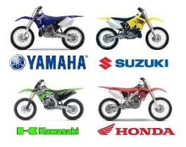 the big four brands of dirt bike and motocross bike honda suzuki yamaha kawasaki