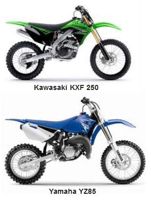 the Kawasaki KXF 250F and the yamaha yz85