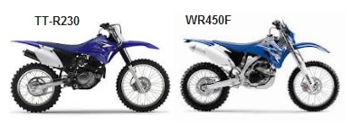 the yamaha TT-R230 and the WR450F dirt bikes