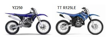the yamaha YZ250 and the TT-R125LE motocross bikes