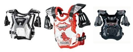 various brands and models of dirtbike body armor