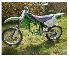 1996 kawasaki kx125 dirt bike with the engine removed