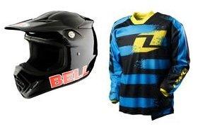 2012 One Industries Carbon Stryper Cyan Black Motocross Enduro Kit Bell Moto-8 helmet