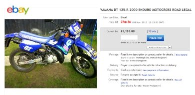 Auctions and off road motor bikes