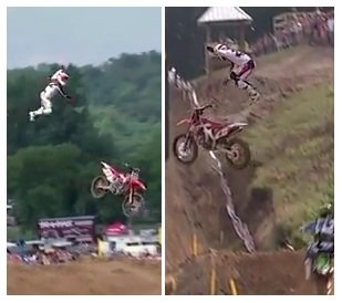 Chad Reed had a major motocross crash at Millvilles MX Class Moto 2 in 2011