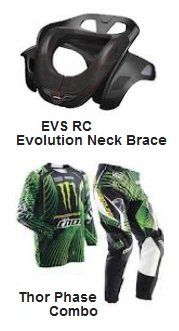 EVS RC Evolution Motocross Neck Collar and the Thor Phase Motocross Combo