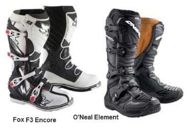 FOX F3 ENCORE boots ONEAL ELEMENT boots