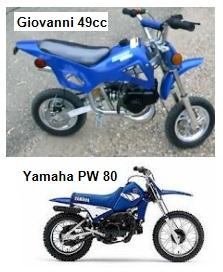 Giovanni 49cc mini dirt bike PW80 Yamaha motocross motorbike