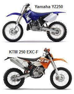 Yamaha YZ250 and the KTM 250 EXC-F