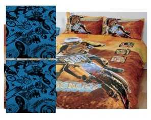a dirt bike bedroom and bedsheets