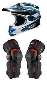 dirtbike helmet and knee braces ready
