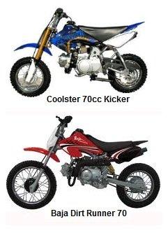 great 70cc dirtbikes coolster kicker and baja dirt runner 70