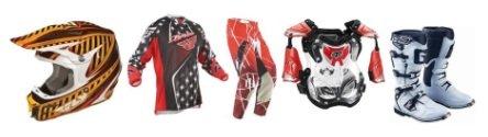 motocross gear helmets jerseys pants armour boots