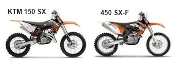 the KTM 450sx-f and the 150sx motocross bikes