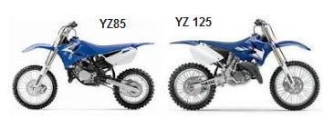 the MX yamaha YZ85 and the YZ125 dirt bikes