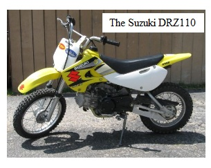 the Suzuki DRZ 110 pit dirtbike